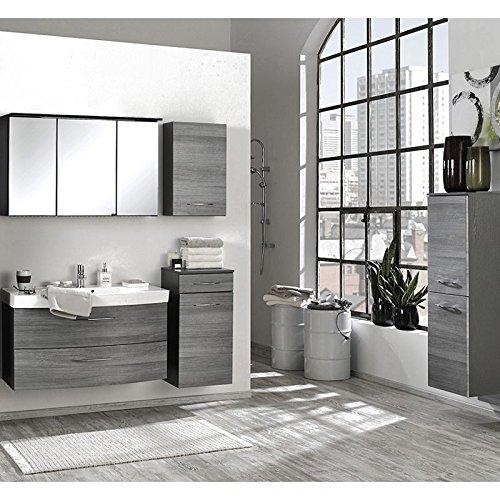 Badmöbel Set Eiche Rauchsilber graphitgrau (5-teilig) Waschtisch Badezimmer Badezimmermöbel LED Spiegelschrank