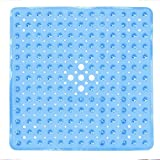 Bathroom Anti-Slip Mat Hole Suction Cup Shower Mat Kitchen Door Floor Non Slip Mats Safety Bathroom 53X53cm,Blue