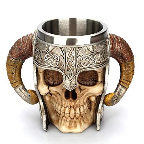 Yundxi 3D Edelstahl Schädel Becher Krug Totenkopf Bier Tassen mit Doppelgriff Skull Mug Zum Kaffee/Getränke/Saft/Wein/Vodka/Whisky/Bier (2 Horn)