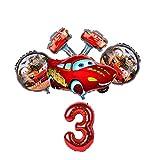 JSJJAER Globos de cumpleaños 6 unids/Set Dibujos Animados Cars Lightning Mcqueen Aluminio Foil Globos Baby Shower Fiesta de cumpleaños Decoración cumpleaños (Color : Red-3)