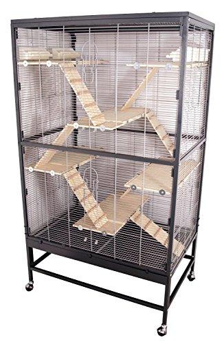 PETGARD Kleintierkäfig, großes XXL-Nagervoliere auch für Ratten und Chinchillas, Gehege auf Rollen mit 6 Holzetagen und weiterem Zubehör, 91x59,5x161 cm, Miami