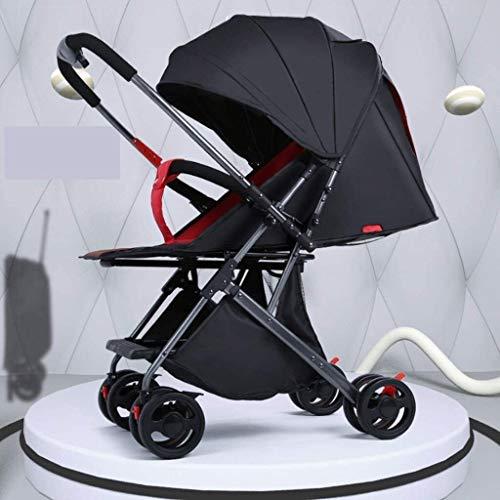 TOKUJN Cochecitos Plegables, Transporte de bebé Anti-Shock, Canasta de toraje, área de Asiento Grande Añadir sombrilla, 3 en 1 Cochecito Plegable PRAM (Color : Black Red)