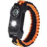 Paracord Survival Bracelet 6-IN-1 - Hiking Gear Traveling Camping Gear Kit - 70% BIGGER Compass LED...