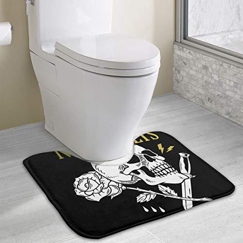 Schedel Rose Mes Phrase Print Memory Foam Toilet Bad Mat U-Shaped, Zacht en Comfortabel Toilet Mat, Badkamer Mat, Wasbaar 19x16 Inch
