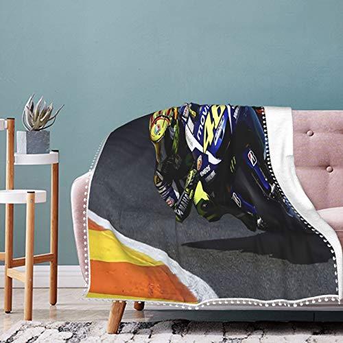 Valentino Rossi Manta de microforro polar para niños y adultos, ultra suave, cálida, ligera, impresa en 3D, mantas para cama, sofá, sala de estar, 50 x 40 pulgadas