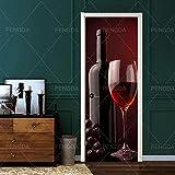 YQZYMT Autocollant de porte 3D Porte intérieure Affiches Peinture muraleVin rouge verre à vin fruits raisins 77*200cm porte autocollant Mural Photo papier peint pour salon chambre stickers muraux dé