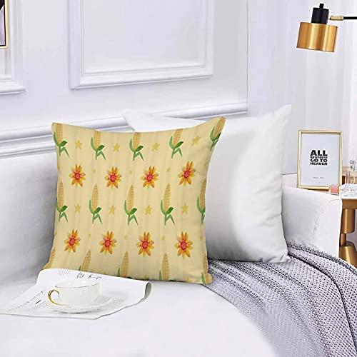 Lilatomer dekorativer Kissenbezug,Stuhl, Bettwäsche, Farm Plant Corn Cob gelbe Blume NahrungspflanzeKissenbezüge für Couch, (45 x 45 cm) mit unsichtbarem Reißverschluss