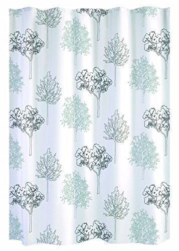 GELCO Textil-Duschvorhang in Spitzenqualität - 180x200 cm - maschinenwaschbar - verstärkte Ösen - beschwerter Saum - DESIGN-Duschvorhang made in France ('TREES' - weiß mit grauem Baummuster)