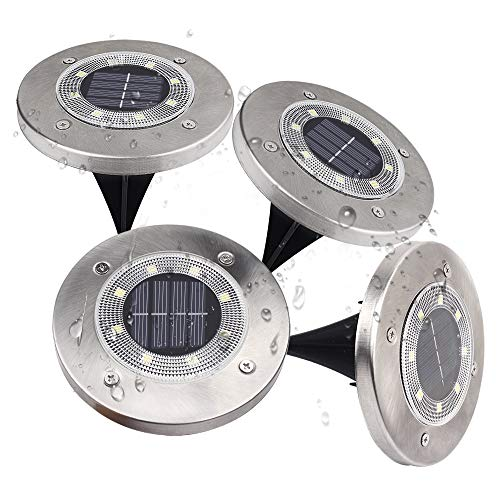 Loekoicy Solar Bodenleuchten, 8 LEDs Solarleuchten für den Außenbereich, 6500K Warmweiß Gartenleuchten, IP65 Wasserdicht für Rasen, Terrasse, Garten, 4er-Pack [Energieklasse A +]