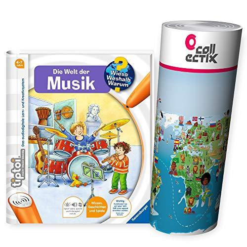 Ravensburger tiptoi Buch Wieso? Weshalb? Warum? - Die Welt der Musik + Kinder Weltkarte - Länder, Tiere, Kontinente