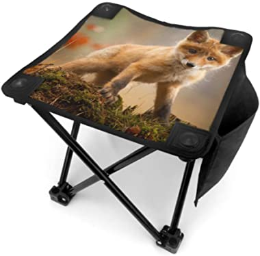 Folding Stool Camp Folding Stool Glorious Red Fox Animal Lightweight Stool Camp for Camping Fishing Hiking Traveling with Car