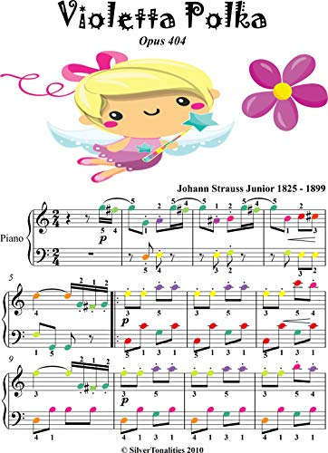 Violetta Polka Opus 404 Easy Piano Sheet Music with Colored Notes (English Edition)