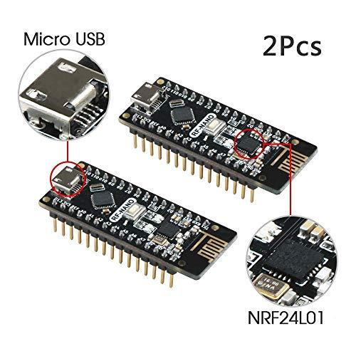 Emakefun für Arduino Nano V3.0 Board, RF-Nano-Board, ATmega328P Micro-Controller-Board, Micro USB, inkl. nRF24L01 Wireless Module Funktion (2 Stück)