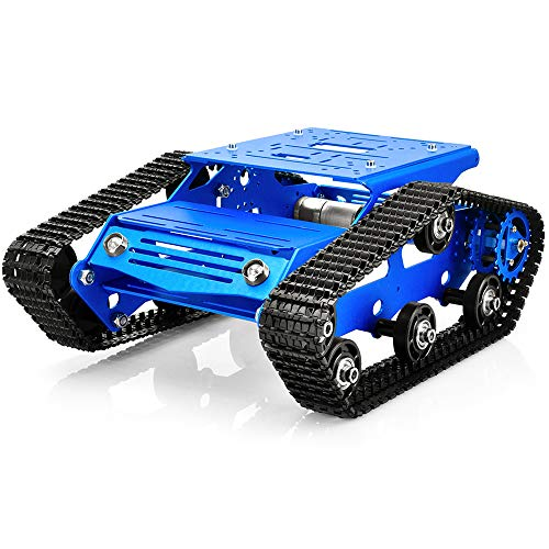 KOOKYE Robot Tank Car Kit Tank Chassis Platform Metal Stainless Steel 2DW Motor 9V for Arduino/Raspberry Pi DIY (Tank Chassis-Blue)