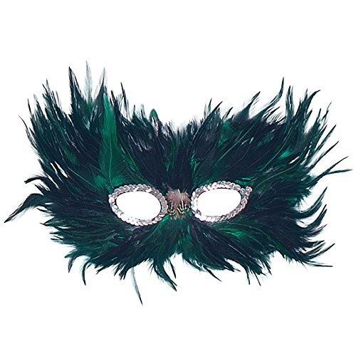 Bristol Novelty EM020 Feder Augenmaske, Grün/Schwarz