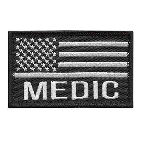 2AFTER1 USA American Flag Medic EMS 2x3.25 Paramedic Med Combat Morale Tactical Touch Fastener Patch