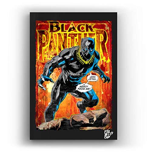 Arthole.it Black Panther, Marvel Comics - Quadro Pop-Art Originale con Cornice, Dipinto, Stampa su Tela, Poster, Locandina, Film