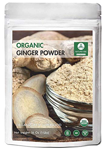 Naturevibe Botanicals Premium Organic Ginger Root Powder (1lb), Zingiber officinale Roscoe | Keto Friendly | Non-GMO and Gluten Free