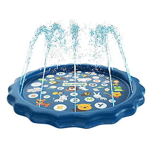 YUYTIN 3-in-1 Splash Pad, Sprinkler for Kids, and Wading Pool for Learning – Childrens Sprinkler Pool, 60 Inflatable Water Toys – from A to Z Outdoor Swimming Pool for Babies and Toddlers
