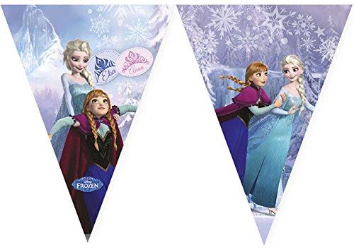 1 Wimpelkette * FROZEN ICE SKATING * für Kindergeburtstag oder Motto-Party // Kinder Geburtstag Party Plastic Flag Banner Motto Disney Elsa Anna Olaf Schlittschuhe die Eiskönigin
