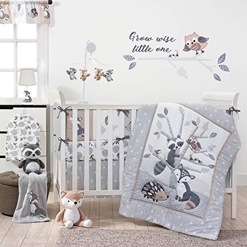 Bedtime Originals Little Rascals Forest Animals 3 Piece Crib Bedding Set, Gray/White