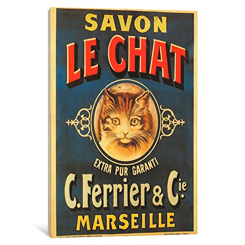 iCanvasART VAC115-1PC3-26x18 Savon Le Chat Canvas Print by Vintage Apple Collection, 26 by 18-Inch, 0.75-Inch Deep