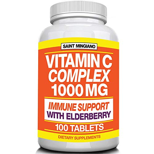 Vitamin C 1000mg with Elderberry is a Leading Immune Support Vitamin - Double The Standard Dosage, with 100 Capsule per Bottle - Premium Non-GMO