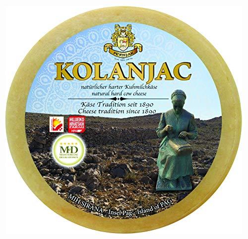 Ganzer Laib Pager Käse Kolanjac ca. 2800g halbharter Kuhmilchkäse aus Dalmatien mit Meersalz aus der Saline von Pag
