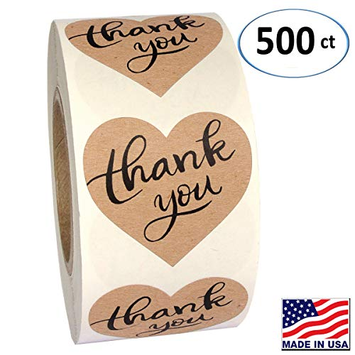 "1.5"" Heart Shape Kraft Paper Thank You Adhesive Label, 500 Stickers per Roll, Love Shape, 1-1/2 Inch"