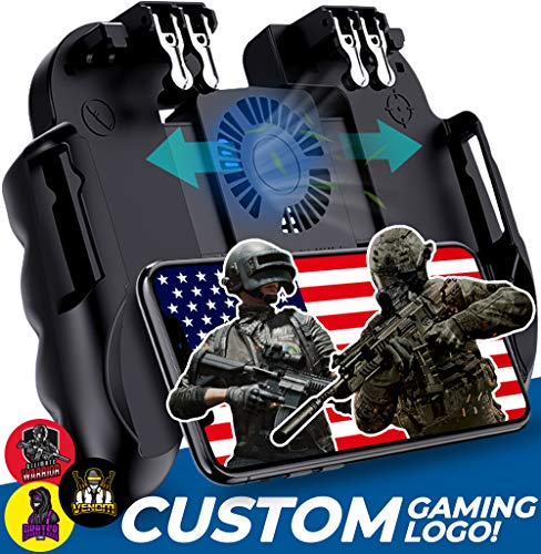 4 Trigger Mobile Game Controller with Cooling Fan Adjustable Stand for PUBG/Call of Duty/Fotnite [6 Finger Mode] GAMR+ L1R1 L2R2 Gaming Grip Gamepad