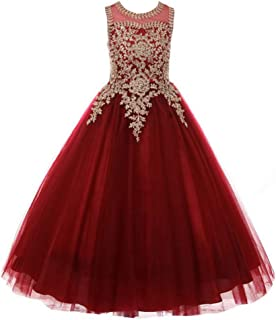 Formal Little Girls Long Pageant Dresses Prom Ball Gown Gold Lace Burgundy Tulle