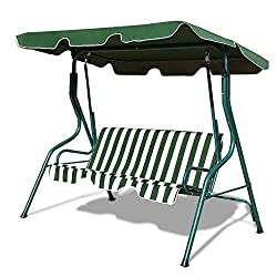in budget affordable Tangkula 3-seater swing with canopy, outdoor terrace swing with soft steel frame, swing bench for gliders …