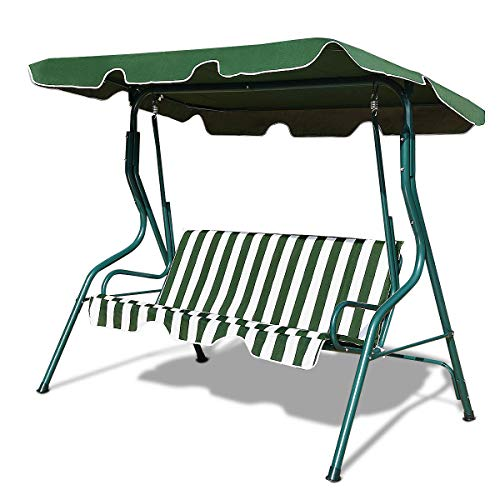 Tangkula 3 Seater Canopy Swing, Outdoor Patio Swing with Cushioned Steel Frame,Glider Swing Bench for Garden Backyard Porch (Green)