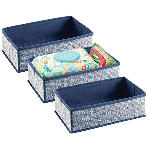 MDESIGN Soft Fabric Dresser Drawer and Closet Storage Organizer for Toddler/Kids Bedroom, Nursery, Playroom - Rectangular Bin with Textured Print, 3 Pack - Navy Blue