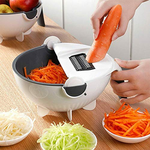 DW007 Gemüseschneider 12 in 1 Vegetable Mandoline Schneidemaschine Gemüsehobel Auffangbehälter Schäler Und Sieb Kunststoff Reibe Mit Schutz Und Eiweiß Separator Für Kitchen Aid