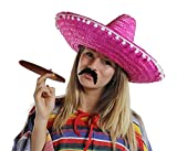 6 X MEXICAN SOMBRERO HATS X MOUSTACHE X FAKE JUMBO CIGAR STRAW COLOUR (gorro/sombrero)