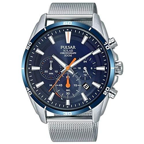 Pulsar Active Reloj para Hombre Analógico de Solar con Brazalete de Acero Inoxidable PZ5085X1