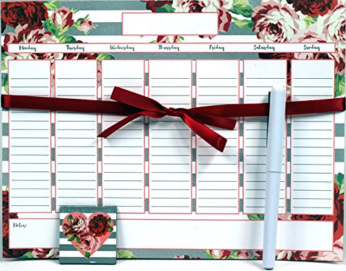 Creative Hobbies Magnetic Weekly Calendar Memo Grocery List Notepad Set, 52 Sheets with Pen & Decorative Magnet - Colorful Floral Design