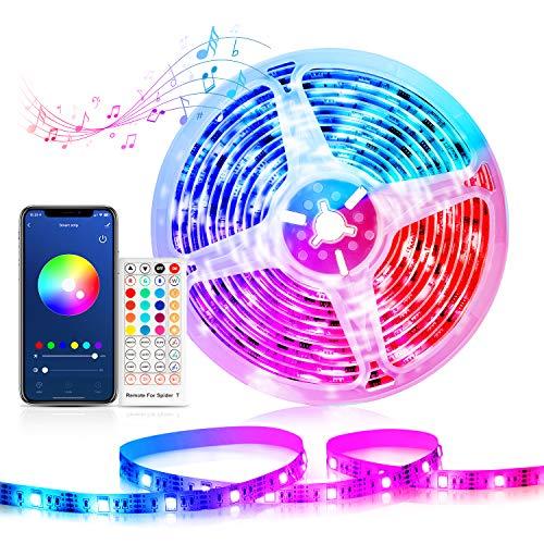 WiFi Tiras LED Alexa, Etersky Luces LED Habitacion Iluminacion 5M, Tiras LED RGB Interior Compatible con Alexa, Google Home, Wifi Tira LED Musica Ambilight Control Remoto, para Fiesta Hogar Decoración