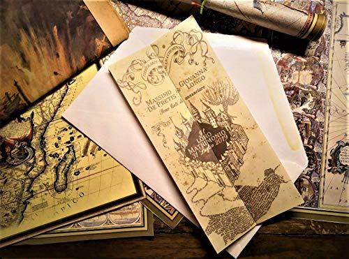 Partecipazioni Matrimonio Harry Potter Mappa Del Malandrino ~ Wedding Invitations Harry Potter Marauder's Map