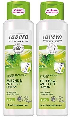 lavera Haar Shampoo Frische & Anti Fett ∙ Zitronenmelisse ∙ Fettende Haare ∙ vegan ✔ Bio Haarshampoo ✔ Natural & innovative Hair Care ✔ Naturkosmetik ∙ Haarpflege 2er Pack (2 x 250 ml)