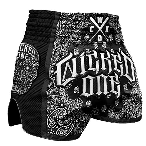 Wicked One Muay Thai Shorts O.G Schwarz - Thaiboxen Short traditionelle Thaiboxhose für Herren mit Air-Flow-Gewebe (L)