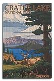 Lantern Press Crater Lake National Park, Oregon, Deer Family 47338 (10x15 Wood Wall Sign, Wall Decor Ready to Hang)