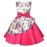 LLQKJOH Girl Dress Kids Ruffles lace Party Girls Maxi Pageant Dress Girls Special Occasion Dresses 4-6x Kids Birthday Dresses for Girls Size 10-11 (1868 Fushia,10)