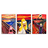 Canvas Painting Wall Art Screech Homer Simpson Scream Pictures HD Print Home Decor Nordic Cartoon Poster for Living Room No Frame 8.4x12inx3pcs