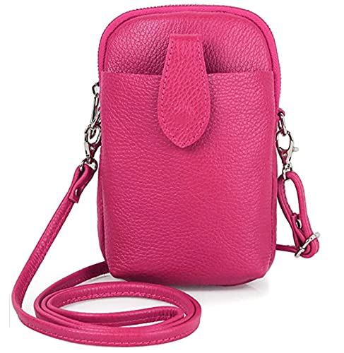 LucaSng Bolso bandolera de piel para mujer, pequeño bolso de mano para el teléfono móvil y el hombro para mujer, Rosa., Small