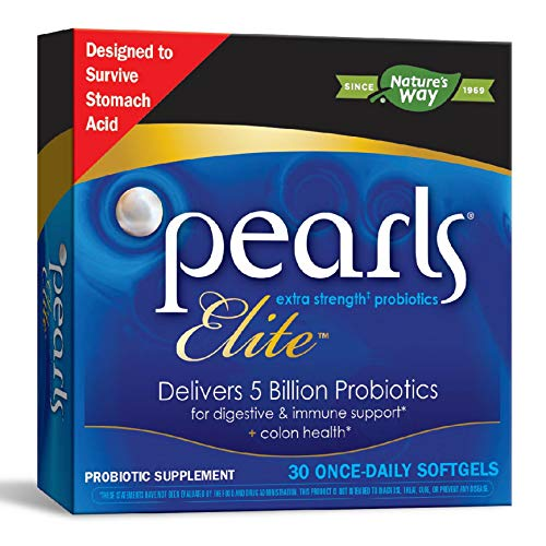 Nature's Way Probiotic Pearls Elite, 5 Billion Active Probiotics, Shelf Stable, 30 Softgels
