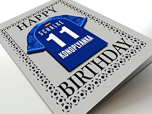 MyShirt123 UEFA Champions League & Euro League Fußball Themed Geburtstagskarten – jeder Name, Jede Nummer und jedes Team – kostenlose Personalisierung, Canvas, FC Schalke 04 Geburtstagskarte