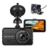 Dual Dash Cam Front and Rear 1080P Dash Camera for Cars 3 Inch IPS Screen with Night Vision ,170° Wide Angle Car On-Dash Mounted Cameras with G-Sensor, Parking Monitor,
