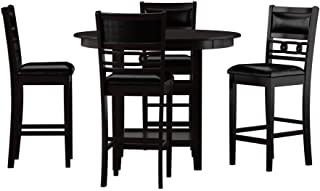New Classic Furniture Gia Counter 5 Piece Dining Set, Ebony